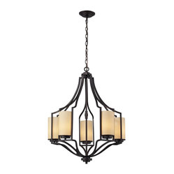 Linden 5 Light Chandelier In Oiled Bronze