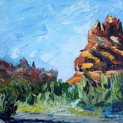 """Coffeepot Rocks, Sedona"" (Original) By Carrie Jacobson - I Fell In Love With The Rock Formations In Sedona, Arizona, And Did A Lot Of Experimenting While Painting Them On Site, En Plein Air. I Am Sort Of A Java Junkie, So I Got A Particular Delight From Painting Coffeepot Rocks. (Coffeepots Rock, Right?) I Was In A Parking Lot Of A Park Building, And Many Tourists Watched Me As I Painted This One."