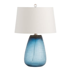 Arteriors - Hamlin Lamp - This ocean blue glass has been hand etched to create a crosshatch pattern on the surface. The ash shade is slightly tapered and lined in white microfiber.  Takes 1 - 150 w 3-way bulb.