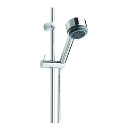 Hudson Reed - Chrome Slide Rail Kit & Multi-function Handset Spray Shower Sprayer - The Hudson Reed Linear Slide Rail Kit with multi-function handset comprises a slim, modern slide rail with a multifunction handset, featuring three spray functions. This slide rail kit is made of solid brass, finished in chrome, and is designed to be used in conjunction with a concealed shower valve to complement any modern bathroom. Hudson Reed Linear Slide Rail Kit Details   Dimensions: Length of slide rail: 28¼ gpm: 2.5 gpm (9.5 l/min) max. Chrome finish
