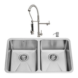 """VIGO Industries - VIGO All in One 29-inch Undermount Stainless Steel Double Bowl Kitchen Sink and - Revitalize the look of your kitchen with a VIGO All in One Kitchen Set featuring a 29"""" Undermount kitchen sink, faucet, soap dispenser, and two sink strainers."""