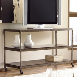 "Hammary - Structure Entertainment Console in Heavily Distressed Brown Finish - ""There is beauty in simplicity. And seldom does furniture possess more effortless beauty than Hammary's new """"Structure"""" collection."