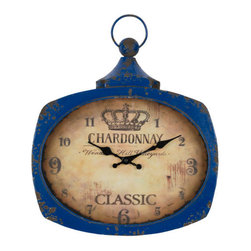 Cooper Classics - Galina Aged Blue Clock - - Aged Blue Finish with Brown Undertones; Under Glass  - Glass Width: 9.5  - Glass Height: 12.5  - Material: Metal Cooper Classics - 40546
