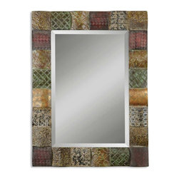 "Collage Frame Wall Mirror - *This decorative mirror features hand embossed sheet metal over convex wooden squares. Frame is finished in a combination of rust brown, sage green, aged white, antiqued gold and mahogany. Mirror features a generous 1 1/4"" bevel. May be hung either horizon"