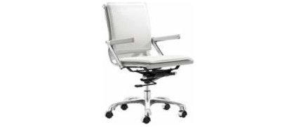 White Leather Low Back Swivel Office Chair - #M5402 | LampsPlus.com