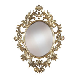 Kenroy - Kenroy 60010 Louis Framed Wall Mirror - A boldly scaled version of an antique European style, Louis combines artisan details with an oval beveled mirror in a hand applied Gold Leaf finish with Silver Highlights.  Overall Product Dimensions:  38 Inch Height, 28 Inch Width Mirror Size:  20 Inch Height, 16 Inch Width 1 Inch Beveled Silver Mirror
