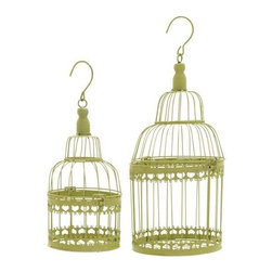 "Benzara - Bird Cage with Great Durability and Long Lasting - Set of 2 - Bird Cage with Great Durability and Long Lasting - Set of 2. Get this pretty and delicate bird cage and make your bird feel loved and cared. It comes with a following dimensions 8""W x 8""D 19""H. 6""W x 6""D x 15""H."