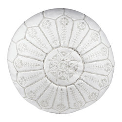 Casablanca Market - Embroidered Leather Pouf, White on White Starburst Stitch - Authentic Moroccan hand-made leather hassock commonly known as Poof is made out of genuine soft leather and has an exquisite detailing on the top. The pouf is so practical, it can be used in many ways: as footstool, a low seat around the coffee table, in your children room, or even doubling up as a quick side table. Zippered bottom opening for easy stuffing.