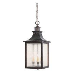 Joshua Marshal - Three Light English Bronze Pale Cream Seeded Glass Hanging Lantern - Three Light English Bronze Pale Cream Seeded Glass Hanging Lantern