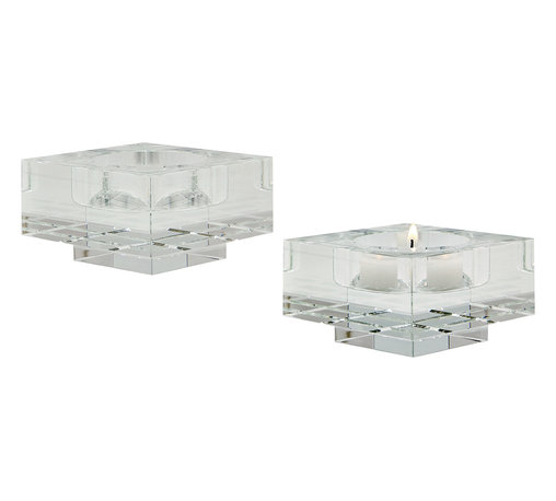 "Lazy Susan - Square Windowpane Crystal Candleholders, SmallSet Of 2 - A High Quality Chunk Of Crystal Has A Bed For A Tea Light Or Small Pillar Candle Cut Into It, Horizontal And Vertical Channels Reminiscent Of A Window Pane Are Hand Cut Into The Body And The Piece Is Polised By Hand Until It Sparkles. The Crystal Shimmers And Dances When The Candle Is Light Creating Ambience. Suitable For A Tea Light Or Small Pillar Candle Up To 2"". Set Of 2"