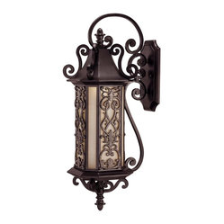 Savoy House - Forsyth 6-Bulb Wall Mount Lantern - This Mediterranean-inspired lantern will mount right on the outside wall of your home, welcoming you each time you reach your door with its rosy glow. The Tuscan glass casts an ardent gleam to your path, and the delicate scrolling metal has a gold finish that give the design further warmth.