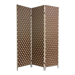 Oriental Unlimted - 6 ft. Tall Island Outdoor Screen - Design a private space on an urban deck or patio with this durable metal folding screen, constructed of metal with an intriguing basketweave design. Also ideal for hiding pumps, air conditioners or other unsightly outdoor items, the screen is rust proof and features three panels linked by two-way hinges. Screens may vary slightly in color. Commercial grade all metal frame -super-strong, rigid, long lasting iron bar provides substance and stability, with a smooth, attractive, rust proof finish. Made of high density resin fiber strips in tight cross weave, extremely durable, waterproof, and easy to clean. Great for dividing space, providing privacy, hiding unsightly areas or equipment, background for plants or sculptures or defining a cozy space for a drink table and chairs on deck or patio. 71 in. H x 18 in. W (per panel)In response to customer demand, we offer our first of 2 designs of heavy duty, industrial quality outdoor screens, 1 of the toughest, most durable room dividers we sell , with simple, warm, earthy style elements. It's a great solution for constant use inside or outside.