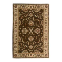 "Nourison - Nourison Living Treasures LI04 (Brown) 2'6"" x 8' Rug - Nourison Living Treasures rugs are made exclusively from the highest quality 100% New Zealand wool yarns, meticulously dyed for a richly varied color palette. The distinctive traditional designs will bring a unique accent of luxury to virtually any environment. Woven on special state-of-the-art looms, these carpets offer both exquisite refinement of detail and a rich organic color palette."