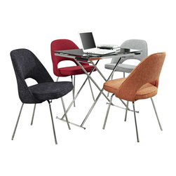 Modway - Cordelia Dining Chairs Set of 4 in Multicolored - Participate in renewed growth and actualization with the Cordelia Side Chair. Sit comfortably as an aspirational back and up-surging arms compliment a dual-tone tweed fabric cushion. Sleek chrome legs solidify the progress as unlocked potentials are established with ease.