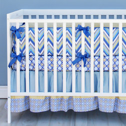 Caden Lane - Asher Blue and Gray Chevron Crib Bedding - The Asher baby bedding set is perfect for the modern and unqiue nursery. We love the navy blue and yellow colors that make up the modern chevron design. The nursery possibilities are endless with this crib set; add any theme to complete the look of your little mans nursery.