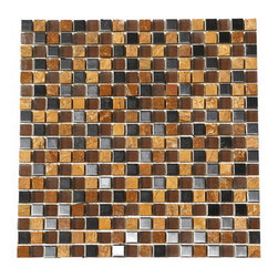 "Premier Worldwide - Autumn Gold With Stainless Steel And Glass 5/8""X5/8"" Mosaic Blend - Autumn Gold 5/8"" x 5/8"" on a 12x12 sheet Polished marble mosaic and stainless steel blend is an organic stone with hues of soft pinks and golds with darker veins. The stainless steel compliment the color. It is recommended for use in both residential and commercial projects including interior flooring and walls.  Also known as Inca Gold, Giallo Reale, metal blend"