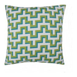 5 Surry Lane - HGTV Turquoise Jigsaw Geometric Pillow - If you want to jazz up your living room without spending a fortune, consider this colorful, modern throw pillow with its high-resolution blend of hue and pattern. It comes in three eye catching colors.