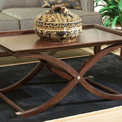 Fairfield Chair Company - Rectangular Recessed Top Cocktail Table w Cur - X shaped legs. Made from wood. 42 in. W x 26.5 in. D x 19.5 in. H