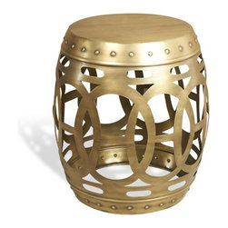 Interlude - Isak Side Table - The Isak Side Table is a pierced iron table in a design reminiscent of a classic Asian garden stool.