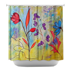DiaNoche Designs - Shower Curtain Artistic - Pink Floral II - DiaNoche Designs works with artists from around the world to bring unique, artistic products to decorate all aspects of your home.  Our designer Shower Curtains will be the talk of every guest to visit your bathroom!  Our Shower Curtains have Sewn reinforced holes for curtain rings, Shower Curtain Rings Not Included.  Dye Sublimation printing adheres the ink to the material for long life and durability. Machine Wash upon arrival for maximum softness on cold and dry low.  Printed in USA.
