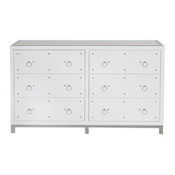 Worlds Away - Worlds Away White Lacquer 6 Drawer Nickel Studded Buffet STUDLY DRW - White Lacquer 6 Drawer Nickel Studded Buffet with Inset Beveled Mirror Top. All Drawers On Glides.