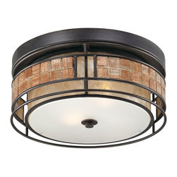Quoizel - Quoizel QZ-MCLG1612RC Laguna Outdoor Flush Fixture - This mica piece is an addition to the Quoizel Naturals collection and features a mosaic tile stripe, which appears to be floating around a taupe mica shade. The tiles have a coppery shimmer for an added touch of elegance.    It provides a warm and inviting accent for most any home.