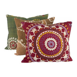 Vintage Suzani Pillow, Large - Vintage textiles are so great for adding depth and personality to a room — I just can't get enough of them. The pink one is my favorite because it adds a great pop of color.