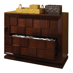 Global Views - Block Lateral File Cabinet - Made of birch hardwood and MDF with zebra wood veneers. Has 2 drawers with full extension metal glides and 3 finger pulls beneath the blocks. Drawers hold letter and legal lateral hanging files.