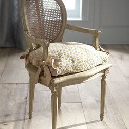 """Delia"" Chair & Cushion - A sweet chair, the ""Delia"" Chair comes with an adorable cushion...neutral enough to work with any decor.  This lovely chair is made by hand with a cane seat and back, birch frame, and hand-painted gray finish. 22""W x 18.5""D x 37.5""T"