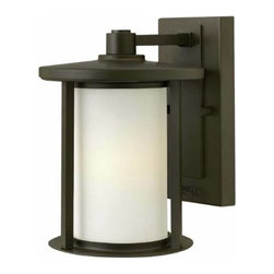 "Hinkley - Hinkley 1910OZ Hudson 9-3/4"" 1 Light Incandescent Outdoor Wall Sconce in Oil Rub - Hudson is a transitional collection with a subtle Arts Crafts aesthetic.� The clean, minimal solid aluminum metal work has a modern feel while the shallow roof lines and cast vertical posts add a refined craftsman touch.ADA Compliant: No Backplate Height: 8-1 4 Backplate Width: 4-1 2 Bulb Type: Incandescent Bulbs Base: Medium Collection: Hudson Dark Sky: No Energy Star Compliant: No Extends: 8 Finish: Oil Rubbed Bronze Glass: Etched Opal Glass Height: 9-3 4 Light Direction: Ambient Material: Aluminum Number of Lights: 1 Voltage: 120 Wattage: 100 Weight: 3.85 Width: 7"