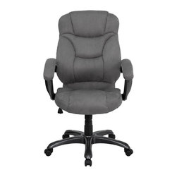 Flash Furniture - Flash Furniture High Back Gray Microfiber Upholstered Office Chair - Flash Furniture - Office Chairs - GO725GYGG - This is a very attractive high back office chair that displays contemporary flair. Plush microfiber upholstery provides comfort with the extra thick padded seat and back. Built-in lumbar support will provide comfort when working for long hours. Thickly padded armrests will provide extra comfort. Chair features a titanium nylon base with black caps that prevent feet from slipping. For your next office chair look no further than this extremely comfortable and stylish microfiber office chair! [GO-725-GY-GG]