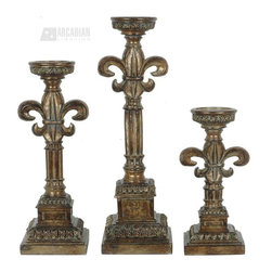 """Crestview Collection - Crestview Collection Candlesticks / Candle Holder X-953EHCVC - Traditional details, such as leafy botanical trim, compliment the square pedestal style base of each of these Crestview Collection candlesticks. These candle holders feature intricate detailing and traditional turning and beveling, highlighted by a beautiful Regency Bronze finish. Set at three varied heights (12"""", 16"""" and 20"""") for added visual interest."""