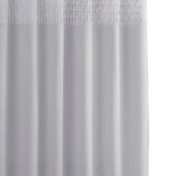 Kassatex - Kassatex Cortina Smock Pleat Shower Curtain, Silver - Bathing beauties need not be showy. On the contrary, sometimes simple and sophisticated garners more attention. This elegant shower curtain, for example, uses a row of smocking to add interest without creating frightening shower scenes in your bathroom.