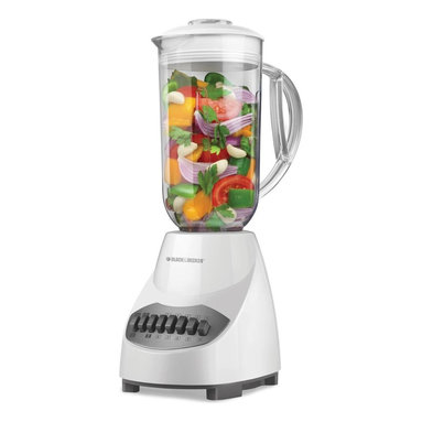 Applica - Black and Decker 10-Speed Blender in White - Unique plastic jar. Multilevel stainless-steel blades to ensure quick and thorough blending. 10 speeds with pulse setting. 5-cup capacity holds plenty of liquid. Easy-pour spout reduces spills. Dishwasher safe parts. Easy to clean. Provides enough power to easily blend frozen fruit and ice. Power: 450 watts