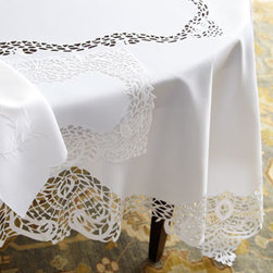 "SFERRA - SFERRA ""Lisette"" Table Linens - Exclusively ours. We love the elegance these snowy-white cutwork table linens bring to table settings—and the fact that they come in sets. Made of polyester. Machine wash. Napkins available with tablecloths or as a set of four; each, 22""Sq. ...."