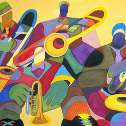 Murals Your Way - Horn Section Wall Art - Painted by Dane Tilghman, the Horn Section wall mural from Murals Your Way will add a distinctive touch to any room
