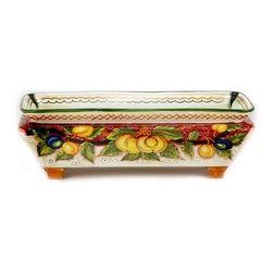 Artistica - Hand Made in Italy - Frutta Fondo Rosso: Rectangular Planter (Medium) - Frutta Fondo Rosso Collection: