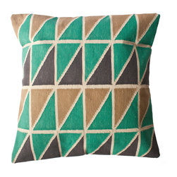 Leah Singh - Mave Triangle Pillow - These bold, geometric durrie pillows are hand-woven by artisans in Rajasthan, India. The heavy cotton weave and canvas backing make them durable and perfect for use as floor pillows.