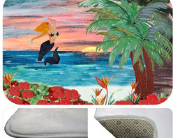 "usa - Mermaid Rising Bath Mat,  20"" X 15"" - Bath mats from my original art and designs. Super soft plush fabric with a non skid backing. Eco friendly water base dyes that will not fade or alter the texture of the fabric. Washable 100 % polyester and mold resistant. Great for the bath room or anywhere in the home. At 1/2 inch thick our mats are softer and more plush than the typical comfort mats. Your toes will love you."