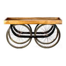 Street Vendor Rolling Console - Sitting atop four, large inflated tires, this rolling console looks as if it were plucked from a bustling marketplace. Turn any assortment of household items into an eye-catching display when you arrange it on this clever piece.