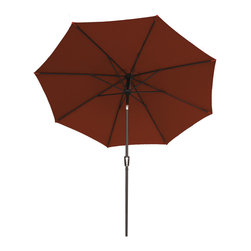 """Bliss Hammocks - Bliss Hammocks 9' Market Umbrella Crank Open System and Tilt in Henna - Turn the smooth-action crank to easily lift the canopy of this patio umbrella. Once it's fully open another turn of the handle tilts the Market Umbrella automatically -- no more pinched fingers. This umbrella is crafted from Sunbrella material which provides durability so the canopy stands up beautifully to the elements. The sturdy but lightweight aluminum frame and interlocking snap lock poles (1.4"""" - 1.5"""") make this Market Umbrella easy to lift in and out of a standard stand. The Market Umbrella comes in a variety of beautiful colors that coordinate with our gravity free recliners."""
