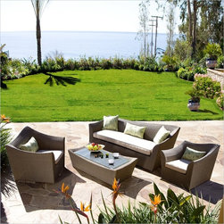Bahamas 4 PC Hayes Love Seat Set - Eco-friendly synthetic woven wicker. Cushions are made of durable all weather sunbrella fabric. Well made and hardy for durability. Built stout and strong with no compromise on comfort. Minor assembly required.