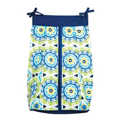 Waverly Baby - Waverly Baby Solar Flair Diaper Stacker - 71003 - Shop for Diaper Stackers from Hayneedle.com! The Trend Lab Waverly Baby Solar Flair Diaper Stacker makes changing diapers about as sunny as it's gonna get. This pretty diaper stacker may not make it any more fun to clean up a messy baby but it will put the finishing touch on your baby's nursery while giving you a convenient caddy right where you need it most. The solid estate blue across the top and medallion print mixing blues greens and a splash of primrose yellow on the bottom provide a pleasant pop of pretty sunshine to your little one's nursery.About WaverlyWaverly launched in 1923 and grew to be a premier home fashion and all-encompassing lifestyle brand. They're now one of the most recognized names in home furnishings. With a signature look that's expertly translated into countless classic styles among home furnishing products their assortment includes wall coverings paint bedding window treatments decorative accessories and other key products.