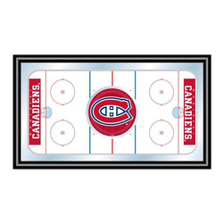 Trademark Global - Framed Hockey Rink Mirror w NHL Montreal Cana - An aerial view of a hockey rink with the officially licensed Montreal Canadiens team logo on the center makes this decorative wall mirror a great accent piece for any sports fan. The mirror has a black wrapped wood frame and would be perfect on a game room wall or behind a basement bar. Great for gifts and recreation decor. Mirror with print. Black wrapped wood frames. 26 in. W x 15 in. H (10 lbs.)This National Hockey League Officially Licensed Hockey Rink Wall Mirror is the perfect gift for the Hockey Fan in your life.