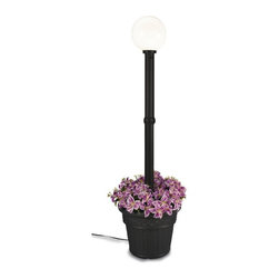 """PLC - Milano Black with White Globe Lantern Planter - Design inspired in the Italian Renaissance.  This electric waterproof lantern planter features 12"""" acrylic white globe, black resin construction and cast iron colored resin planter base. Two level dimming switch and 10 ft. weatherproof cord and plug. 1-100 watt bulb maximum. Dimensions: 82"""" tall x 21"""" diam. planter base"""