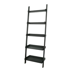 International Concepts - Slanted 5 Tier Wooden Leaning Shelf - Organize your home with this attractive and simple five tier shelf that leans against any wall with its ladder-like structure.  It's easy to move and supports almost anything that you wish to display or store.  Its black finish is stylish and matches with anything. * Slanted shelf. Made of Solid Parawood. Assembly required. 25.5 in. W x 14 in. D x 75.25 in. H (28.6 lbs.)