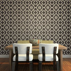 Chez Ali Moroccan Stencil - Chez Ali Moroccan Wall Stencil from Royal Design Studio Stencils. This graphic hand painted pattern makes a bold statement in dining rooms, living room or as an accent wall. This classic Moroccan pattern fits well with traditional, modern and global furnishings.