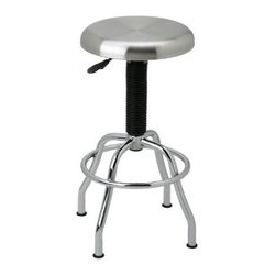 "Seville Classics - Seville Classics Stainless Steel Seat Work Stool - ""This NSF certified commercial pneumatic brushed stainless steel (304) top work stool with a 360 degree swivel seat adds a modern yet contemporary touch to any room. This stool is ideal for kitchens, restaurants, offices, laboratories, warehouses, mail rooms, work centers, etc. This work stool is equipped with heavy-duty 1-inch in diameter chrome plated steel legs, 19-inch diameter work stool base, and a14-inch stainless steel diameter seat. The pneumatic action seat ranges from a peak height of 29-3/4 -Inch lowering to 25-1/2 -Inch in height. No tools required.Dimensions (W x L x H): 15"""" x 15"""" x 25.5""""Weight: 13 lbs.Brushed type 304 stainless steel seat (swivels 360 degrees)NSF certifiedS.S. seat diameter: 14-InchPneumatic action adjusts seat height from 25-1/2-Inch to 29-3/4-InchHeavy-duty 1-Inch diameter chrome-plated steel legs with leveling feet"""