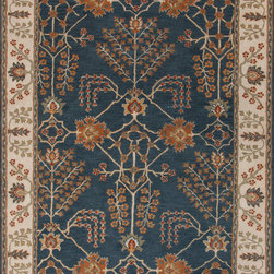 Jaipur Rugs - Transitional Arts & Crafts Pattern Blue Wool Tufted Rug - PM82, 9.6x13.6 - The Poeme Collection takes traditional designs and re-invents them in a palette of modern, highly livable colors. Each design is made from premiere hand-spun wool and crafted with precision for the look and feel of a hand-knotted rug, at the more affordable cost of a hand-tufted. Poeme will effortlessly coordinate individual design elements to finish any room.