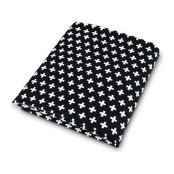OLLI+LIME - Cross Crib Sheet - Black - Soft cotton fitted crib sheet in black and white Nordic-inspired cross design. Fits standard-sized US crib. One-inch elastic for a safe and secure fit.